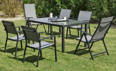 Salon de jardin aluminium Horizon anthracite 6 places 1 table + 6 ...