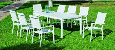 Salon de jardin aluminium Ibiza blanc 8 places 1 table + 8 fauteuils