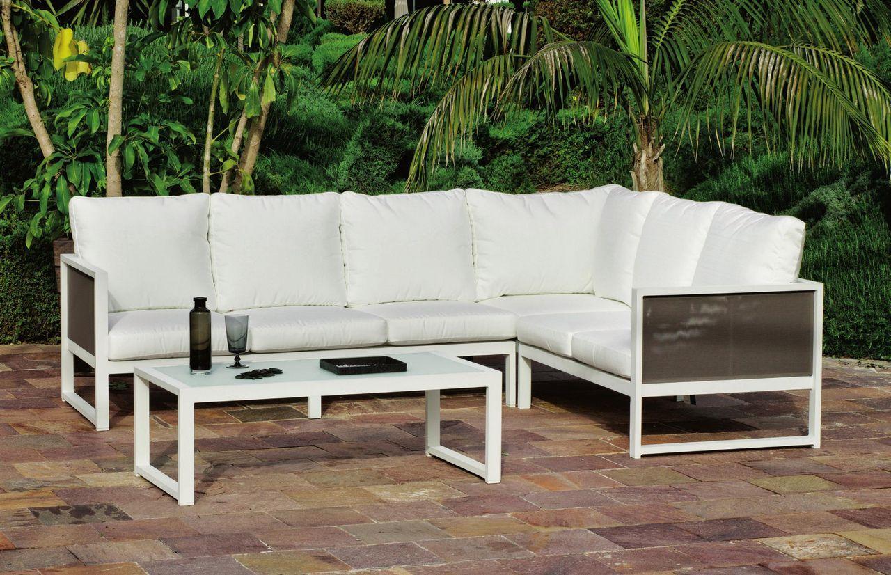 Salon de jardin aluminium mariel 6 places 2 canap s 1 angle 1 table basse - Canape jardin aluminium ...