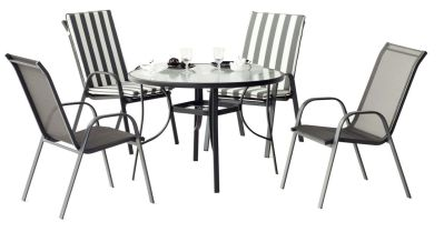 Salon de jardin aluminium Odea anthracite 4 places 1 table + 4 fauteuils
