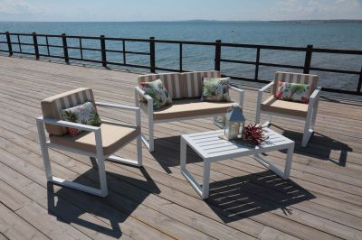Salon de jardin aluminium Parma 4 pls 2 fauteuils canapé 2 pls table ...