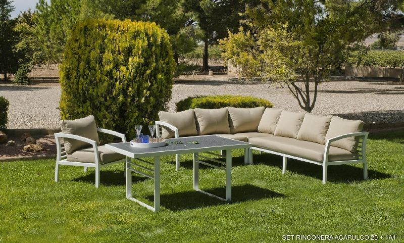 Salon de jardin aluminium rinconera 6 places coussins for Rinconera jardin