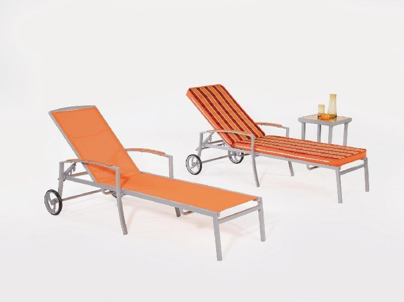 Salon de jardin aluminium Rochel 2 places coussins rayé orange/brun ...