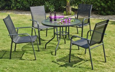 Salon de jardin aluminium Teluro anthracite 4 places 1 table + 4 fauteuils
