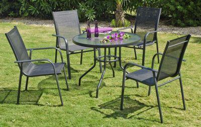 Salon de jardin aluminium Teluro anthracite 4 places 1 table + 4 ...