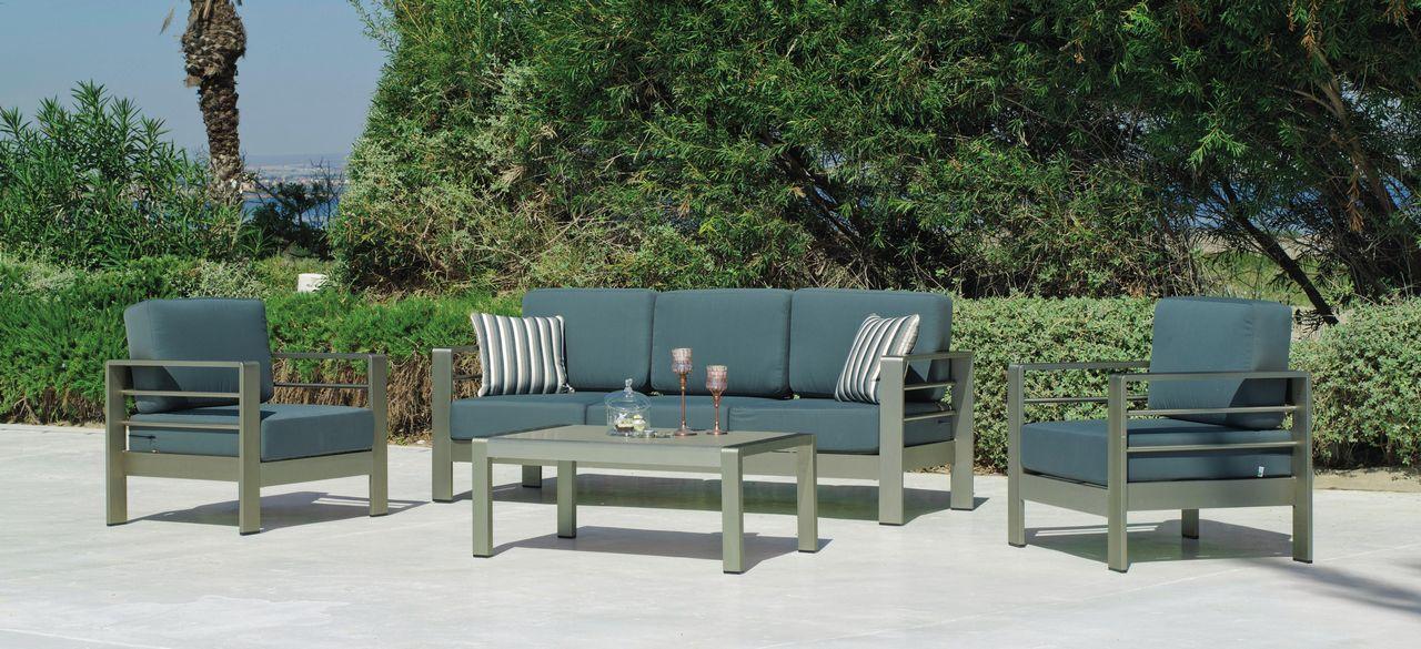 Salon de jardin aluminium trocadero 5 places canap 2 fauteuils table basse for Canape jardin aluminium