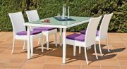 Salon de jardin aluminium Villalba blanc 4 places 1 table + 4 chaises