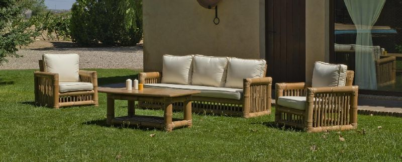 salon de jardin bambou kingston 5 places avec coussins cru. Black Bedroom Furniture Sets. Home Design Ideas