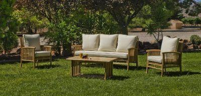 Salon de jardin bambou Menfis 5 places avec coussins écru