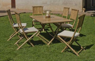 Salon de jardin bambou San Remo 4 places avec coussins écru