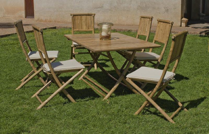Salon de jardin bambou San Remo 4 places avec coussins écru ...