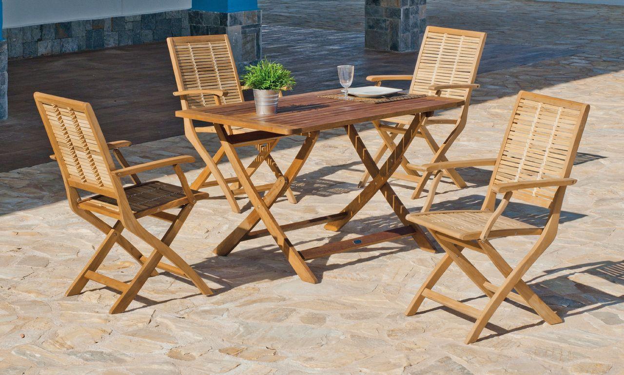 salon de jardin pliant bois exotique sorocaba 4 places. Black Bedroom Furniture Sets. Home Design Ideas