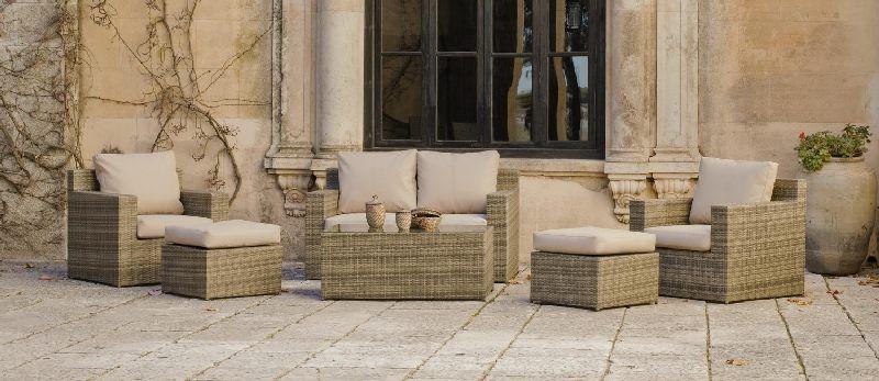 Salon de jardin résine Abasari Nautic 4 places avec coussins beige