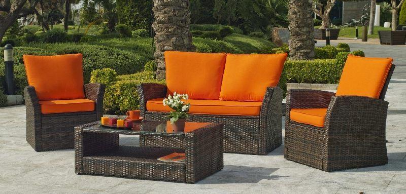 Salon de jardin résine Alpes 4 places avec coussins orange - Meubles ...