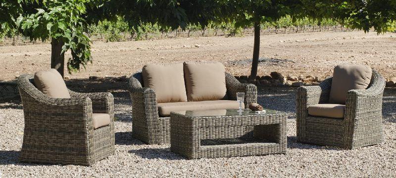 Salon de jardin résine Amanda 4 places avec coussins marron