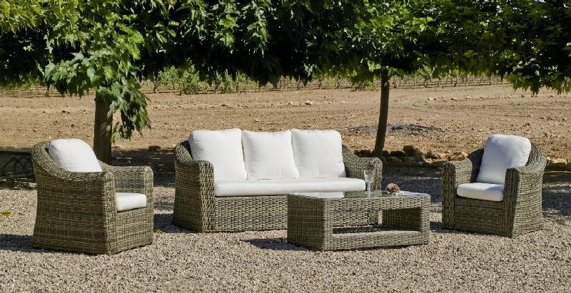 salon de jardin r sine amanda 5 places avec coussins blanc cass. Black Bedroom Furniture Sets. Home Design Ideas