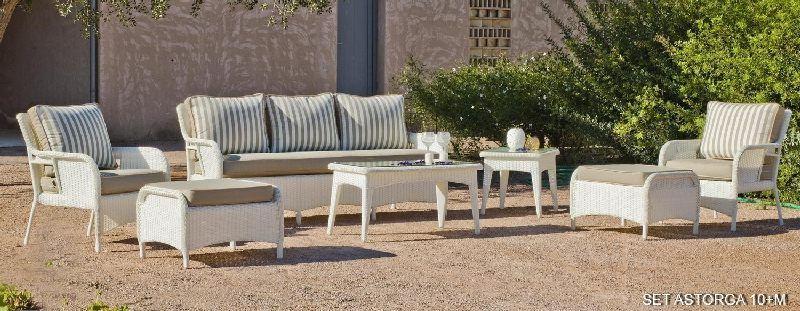 Salon de jardin résine Astorga 5 places avec coussins rayé beige