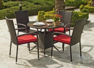 Salon de jardin résine Bergamo 4 places avec coussins rouge