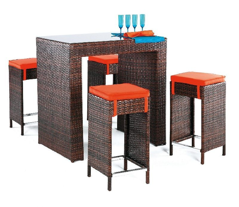 salon de jardin r sine delfin 4 places avec coussins orange meubles de jardin. Black Bedroom Furniture Sets. Home Design Ideas