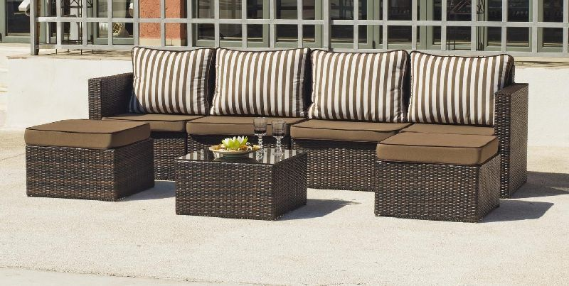 salon de jardin r sine elder 6 places avec coussins marron meubles de jardin. Black Bedroom Furniture Sets. Home Design Ideas