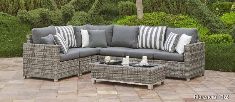 salon de jardin r sine florencia 5 places avec coussins gris. Black Bedroom Furniture Sets. Home Design Ideas