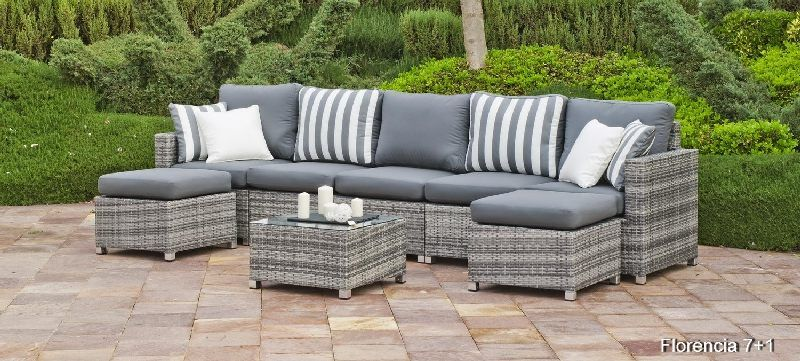 salon de jardin r sine florencia 7 places avec coussins gris. Black Bedroom Furniture Sets. Home Design Ideas