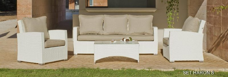 salon de jardin r sine haron 7 places avec coussins beige fonc meubles de jardin. Black Bedroom Furniture Sets. Home Design Ideas
