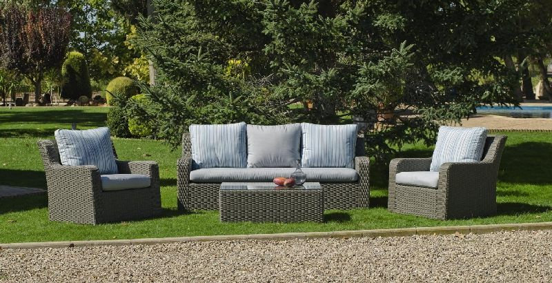 salon de jardin r sine lua 5 places avec coussins gris clair. Black Bedroom Furniture Sets. Home Design Ideas