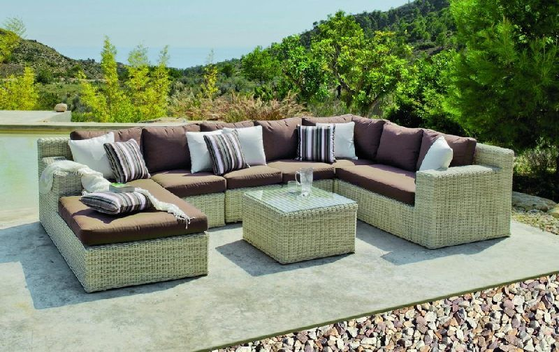 salon de jardin r sine medula atlanta 6 places coussins marron meubles de jardin. Black Bedroom Furniture Sets. Home Design Ideas
