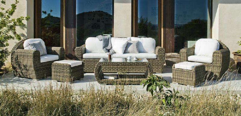 Salon de jardin résine Medula Borsalino 5 places coussins blanc ...