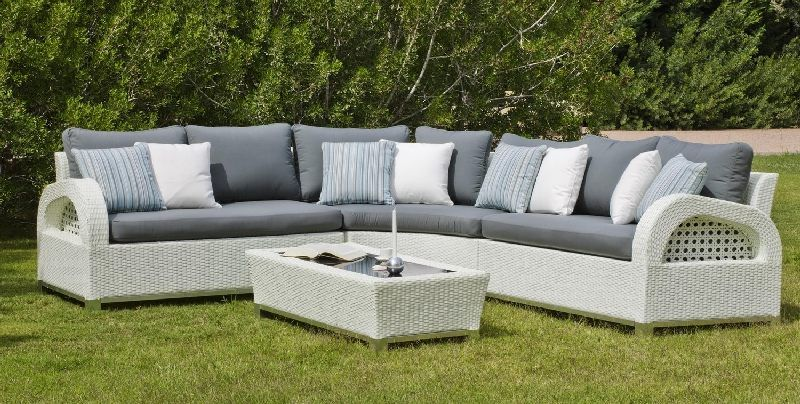 salon de jardin r sine oslo 4 5 places avec coussins gris. Black Bedroom Furniture Sets. Home Design Ideas