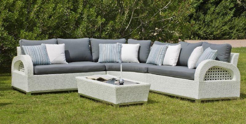Salon de jardin résine Oslo 4-5 places avec coussins gris