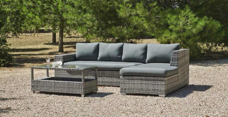salon de jardin r sine vancuber 4 places avec coussins gris. Black Bedroom Furniture Sets. Home Design Ideas