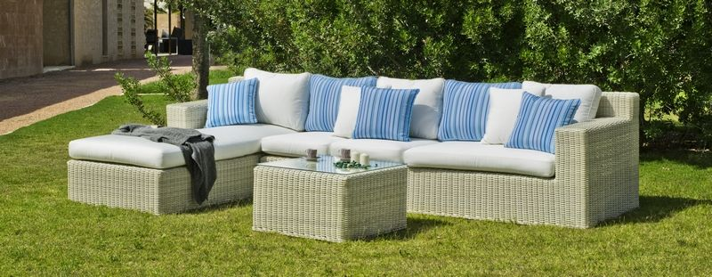 Salon De Jardin Resine Tressee Atlanta 7 Elements Coussins Blanc