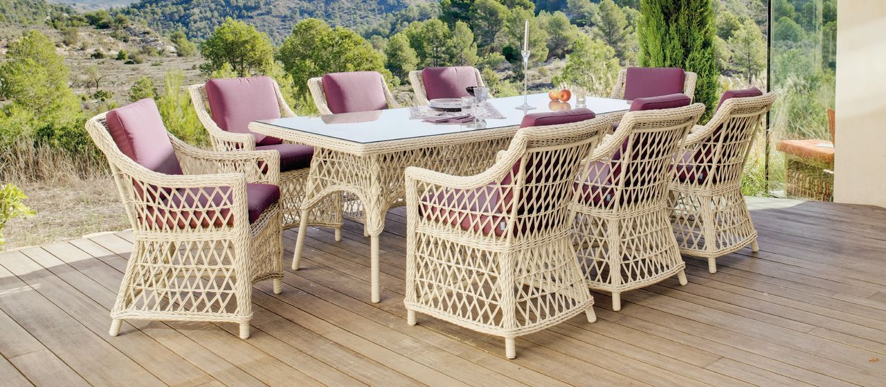 salon de jardin r sine tress e atlanta pourpre 8 places table 8 fauteuils. Black Bedroom Furniture Sets. Home Design Ideas