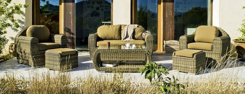salon de jardin r sine tress e linobor 6 l ments coussins marron. Black Bedroom Furniture Sets. Home Design Ideas