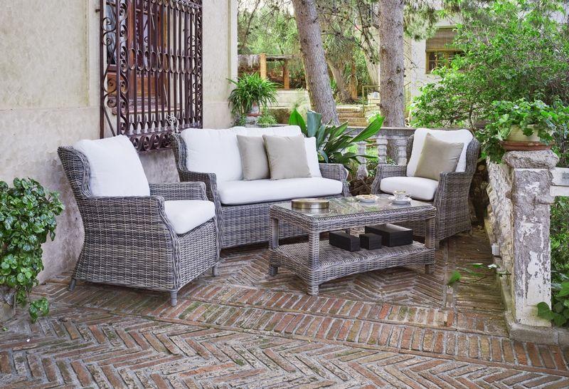 Salon de jardin résine tressée Meduse canapé+2 fauteuils+table basse