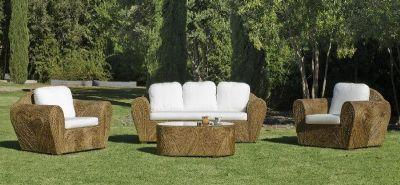 Salon de jardin rotin Lancaster 5 places avec coussins blanc
