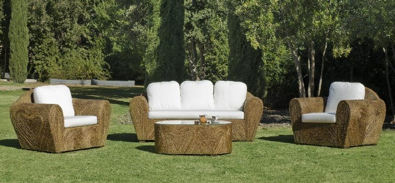 salon de jardin rotin lancaster 5 places avec coussins blanc. Black Bedroom Furniture Sets. Home Design Ideas