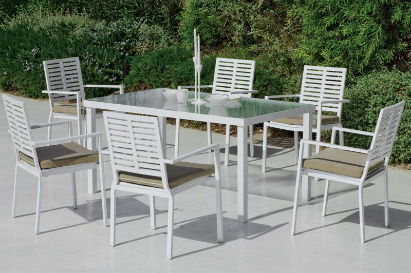 salon de jardin table h v a alabay beige aluminium blanc 6 places meubles de jardin. Black Bedroom Furniture Sets. Home Design Ideas