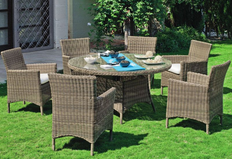 Salon de jardin table h v a borsalino medula r sine tress e 6 places meubles de jardin - Table salon de jardin resine tressee ...