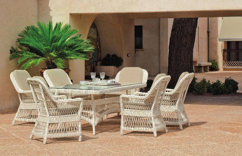 salon de jardin table h v a dubay r sine tress e blanc ivoire 6 places. Black Bedroom Furniture Sets. Home Design Ideas