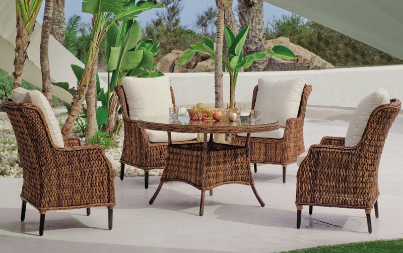 salon de jardin table h v a panama cru r sine tress e marron 4 places. Black Bedroom Furniture Sets. Home Design Ideas