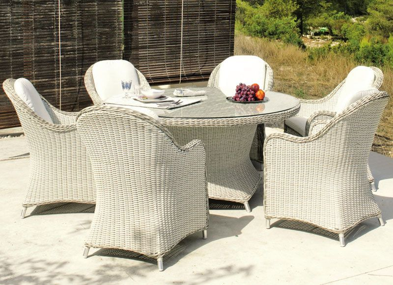 Salon de jardin table h v a surabaya r sine tress e gris 6 places meubles de jardin - Table salon de jardin resine tressee ...