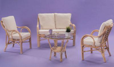 Salon rotin Saigon naturel table+fauteuils+canapé - Decotaime ...