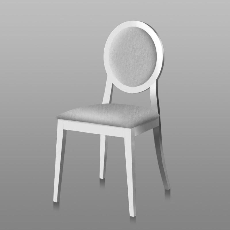 Set de 2 chaises h tre elegant blanc et tapisserie gris clair 96x48x49 - Tapisserie gris clair ...