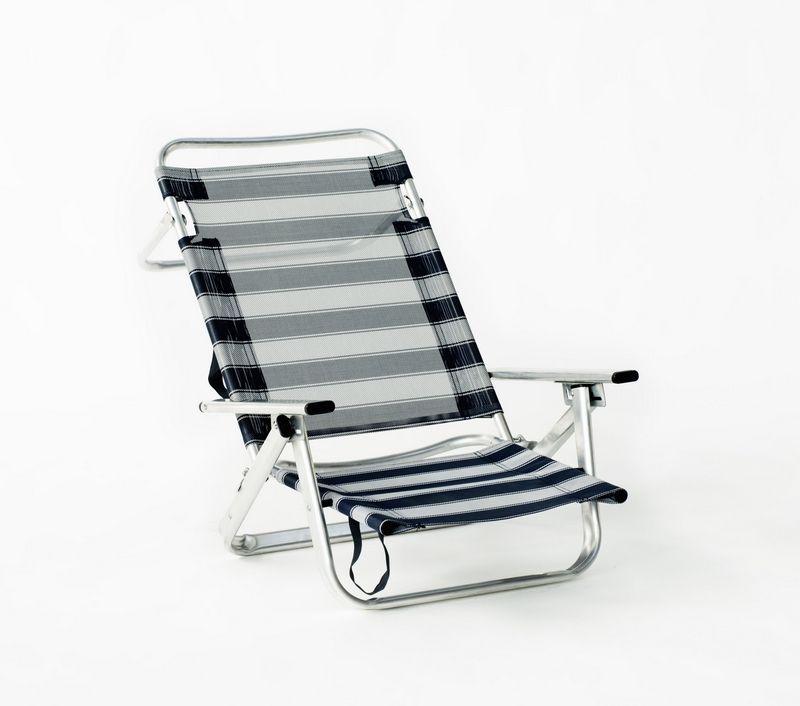 set de 4 fauteuils de plage belmari pliable alu textil ne ray bleu meubles de jardin. Black Bedroom Furniture Sets. Home Design Ideas