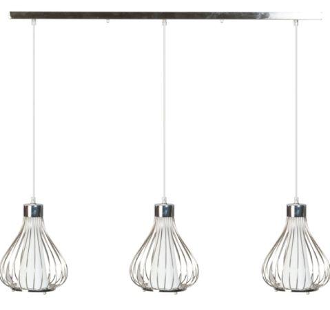 suspension design contemporaine pascale m tal et verre 3 ampoules luminaires. Black Bedroom Furniture Sets. Home Design Ideas