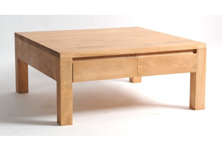 table basse hévéa massif naturel 80x80 4 tiroirs