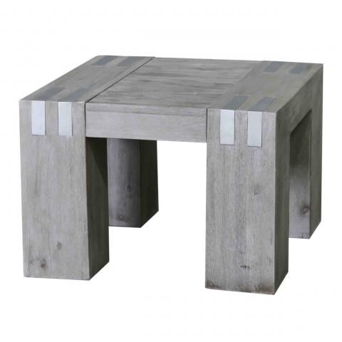 Table basse acacia massif dalia gris carr e - Table basse carree grise ...